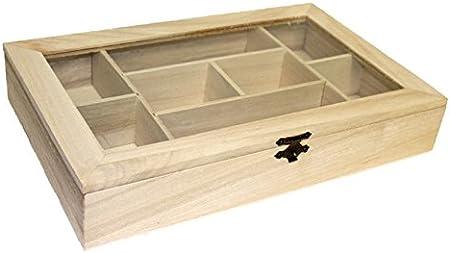 EM Home-Caja de Madera con 8 Compartimentos y Tapa de Cristal ...