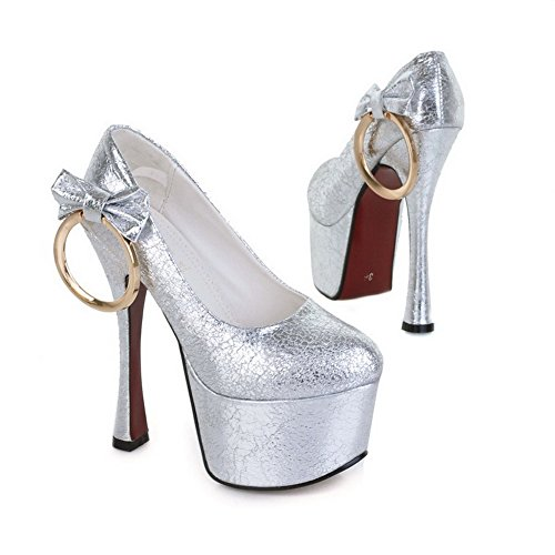 VogueZone009 Womens Closed Toe Round Toe High Heels Spikes Stilettos PU Soft Material Solid Pumps with Platform Silver DPc7ZrxMk