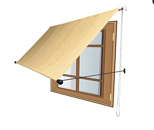 quality design 7c97b 455fe Shatex Outdoor Awning Shade Window/Door Canopy Support Arm 6x5ft Wheat