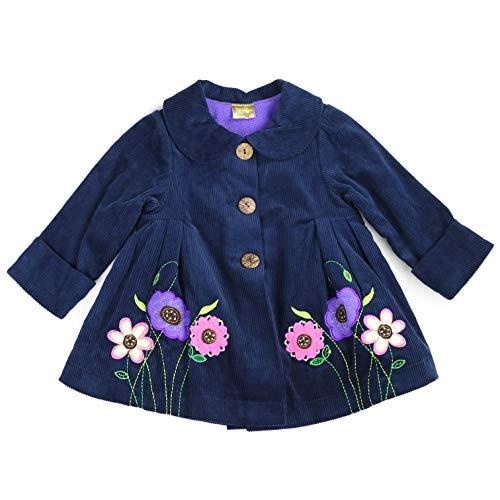 Maria Elena - Toddlers and Girls Tonya Corduroy Flower Swing Jacket in Navy 6 -