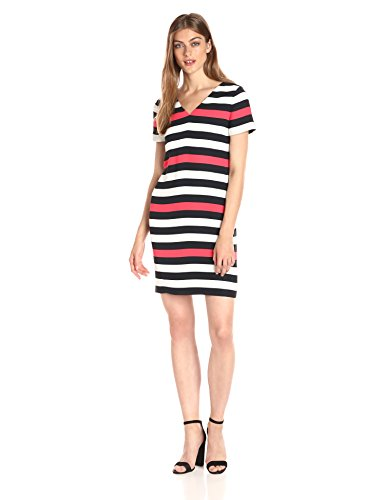 (A|X Armani Exchange Women's V Neck Short Sleeve Tricolor Stripe Shift Dress,)