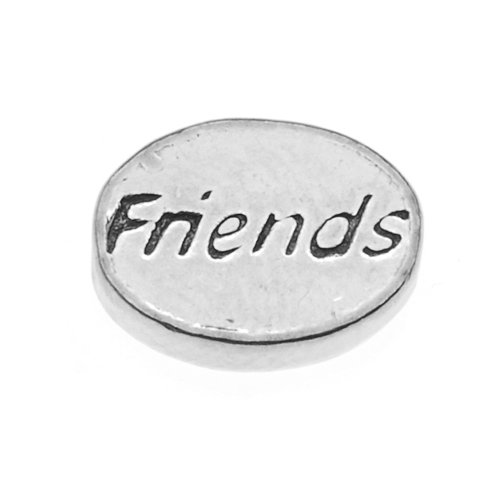 Beadaholique Pewter Lead Free Message Friends Bead Charm, 11 by 8mm