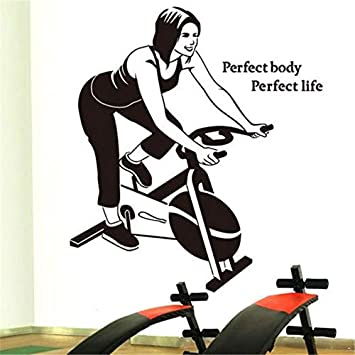 ONETOTOP Custom Girl Wall Sticker Fitness Center Spinning Sports ...