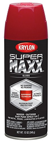 (Krylon K08954000 SUPERMAXX All-In-One Spray Paint, Gloss Cherry Red, 12 Ounce)