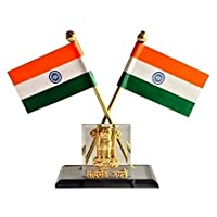 Almoda Creations Indian Flag For Car Dashboard