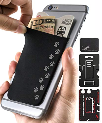 - Dog Paws Phone Case by Gecko - Dog Paw Phone Pocket - Paws Card Holder - (Dog Paw Black)