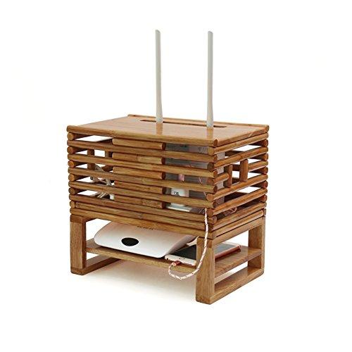 Price comparison product image Hxdeli WiFi Router Organizer Holder,Natural Storage Box Caddy Power Strip Mesh Creative-A