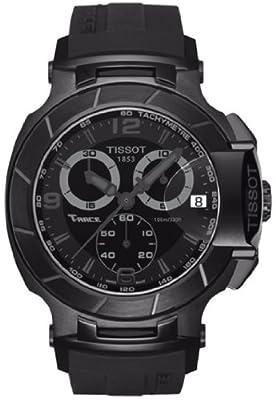 Tissot Men's T0484173705700 T-Race Black Chronograph Dial Black Rubber Strap Watch