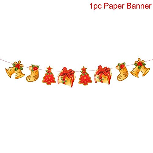 Viet-GT Pendant & Drop Ornaments - Merry Christmas Banner Ornaments New Year Christmas Decorations for Home Xmas Party Santa Claus Bell Flag Garlands 1 PCs