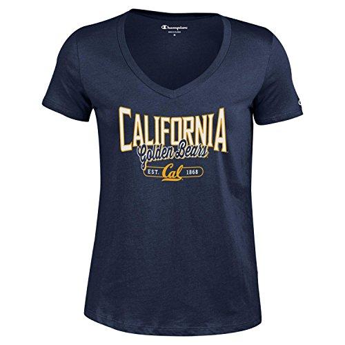 (Champion NCAA Women's University Short Sleeve Tagless Lady's V-Neck Tee, California Golden Bears, X-Small)