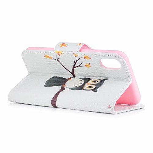 Custodie Apple iPhone X / IPhone 10 / IPhone TenCover, Yiizy Gufo Design Custodia Portafoglio Silicone Gomma Flip Cover Case PU Pelle Cuoio Copertura Case Slot Schede Cavalletto Stile Libro Bumper Pro