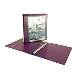 Wilson Jones Premium Single-Touch Locking D-Ring View Binder, 1 Inch, Customizable, Eggplant (W86676PP)