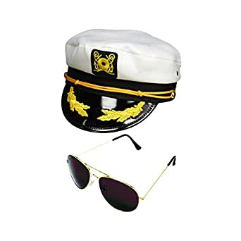 Amazon.com: Yacht Boat Captain Hat Sailor Ship Cap White