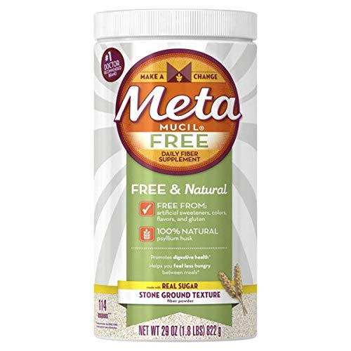 Meta Mucil Free Daily Fiber Supplement Powder Stone Ground Texture - 29 oz, Pack of 4