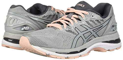 Asics Running Shoes. ASICS Women's Gel-Nimbus 20 Running Shoe, mid grey/mid grey/seashell pink, 9 Medium US. #runningshoes