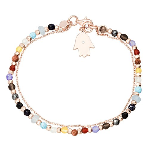 Willowbird Womens Hamsa Charm and Multi Colored Simulated Gemstone Beaded Double Row Bracelet in Rose Gold Plated Sterling Silver Gemstone Double Row Bracelet
