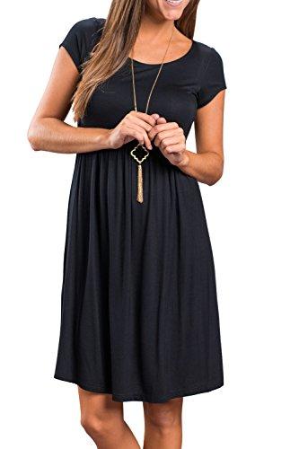Verano De Mujer Camiseta De Manga Corta Vestido De Fiesta En La Playa Black