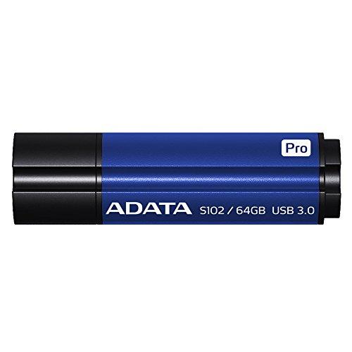 ADATA S102 Pro 64GB USB 3.0 Ultra Fast Read Speed up to 100 MB/s Flash Drive Blue (AS102P-64G-RBL)