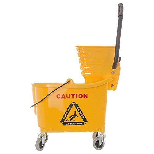 35-Quart Bucket/Wringer Combinations, Yellow, cleaning bucket, janitorial, mop bucket, commercial, industrial, institution, cleaning bucket by AmGood