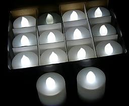 Lot 48 Battery LED White Flickering Flame Tea Lights