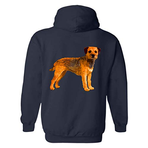 Six Crab Border Terrier Unisex Hooded, Long Sleeve Hoodie (L,Navy) -