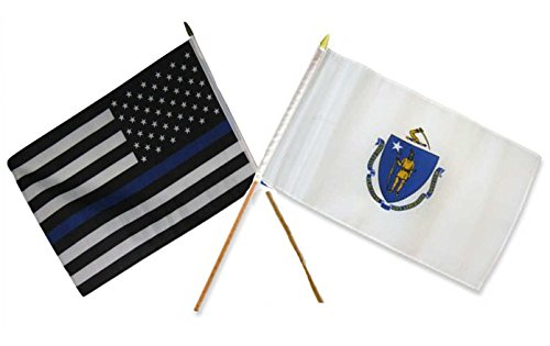 (ALBATROS 12 inch x 18 inch USA Police Blue with Massachusetts State Stick Flag for Home and Parades, Official Party, All Weather Indoors Outdoors)