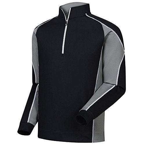 FootJoy Mixed Texture Sport Half-Zip Golf Pullover (Small, Black/Charcoal)