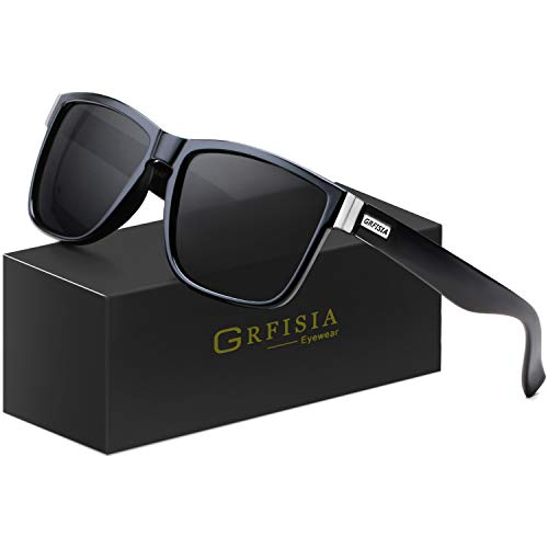 GRFISIA Vintage Polarized Sunglasses for Men and Women Driving Sun glasses 100% UV Protection (all black frame-black ()
