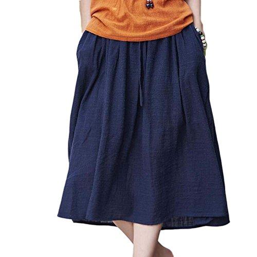 Kbwin Jupe pour Femme - Jupe Longue en Lin et Coton Bleu Fonc