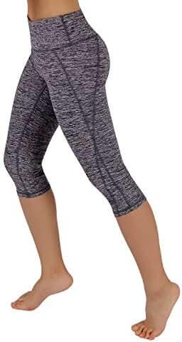 ODODOS by Reflex Women's Tummy Control Workout Running Pants Yoga Capri Leggings With Hidden Pocket
