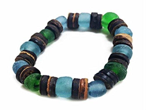 Stretch Shell Coconut Bracelet (Mermaid Aloha Multi-colored Beach Glass with Coconut Shell Disks Hawaiian Bracelet)