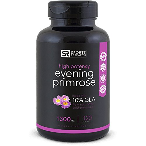 #LightningDeal 97% claimed: Evening Primrose Oil 1300mg 120 Liquid Softgels, Cold-Pressed with No fillers or Artificial Ingredients; Non-GMO & Gluten Free, Made in the USA