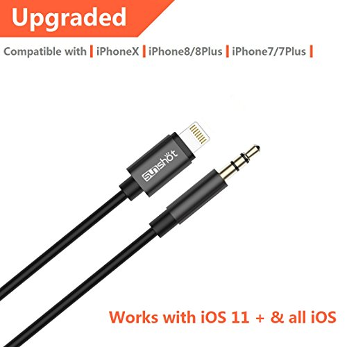 to 3.5mm Male Aux Stereo Audio Cable, Compatible with iOS 11 or Above, iPhone 7 / 7P / 8 / 8P / X or Any Lightning Port to Car Stereo Speakers or Headphone Audio Jack (Black) ()