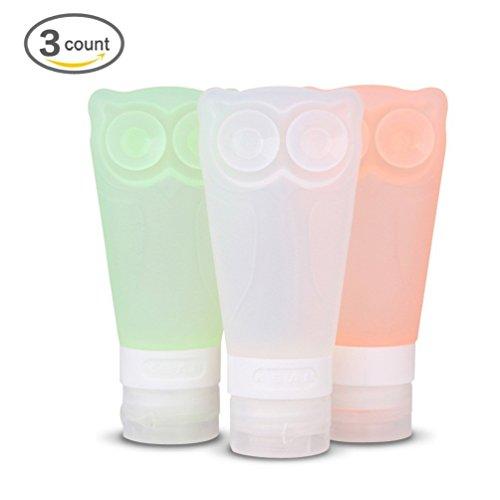 Homebridge Owl Soft Silicone Travel Bottles Set,2.8 OZ,Grey-green,Orange-pink,White (Refillable Brita Water Bottle compare prices)