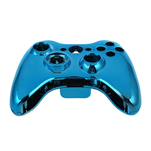 (SODIAL(R) Blue Chrome Custom Wireless Controller Replacement Shell Case Kit for Xbox 360)