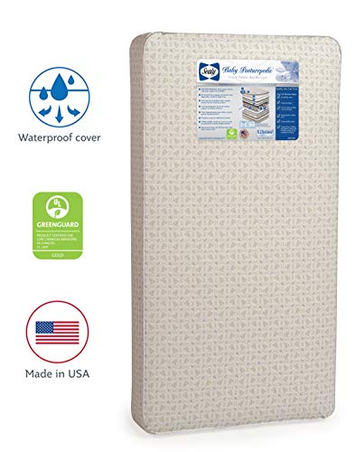 """Sealy Baby Posturepedic Infant/Toddler Crib Mattress -220 PostureTech Sensory Coils, Orthopedically Designed Coil System, Hospital-Grade Waterproof Cover, Secure Edges, Anti-Sag System, 51.7""""x27.3"""