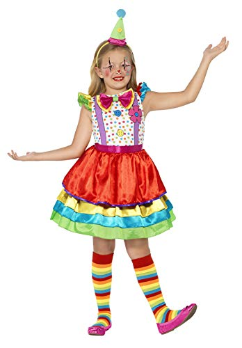 Smiffys Children's Deluxe Clown Girl Costume,  Dress and Hat, Ages 7-9, Size: Medium, Color: Multi, 45250