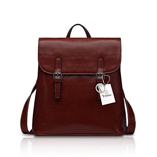 Yoome bolso de cuero Flapover grande mochila de alta capacidad Csual bolso de viaje bolso de hombro enemigo mujeres Brown Café
