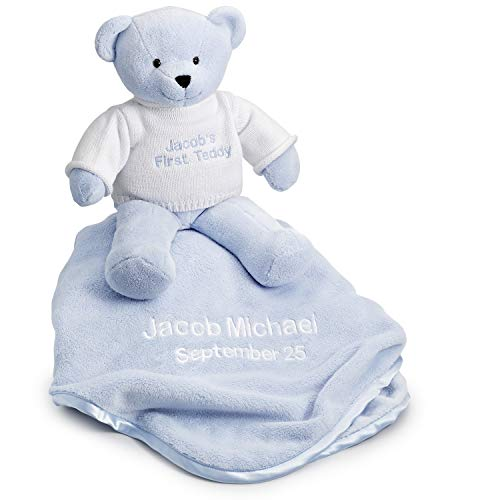 Things Remembered Personalized Blue Teddy Bear and Blanket with Embroidery Included]()