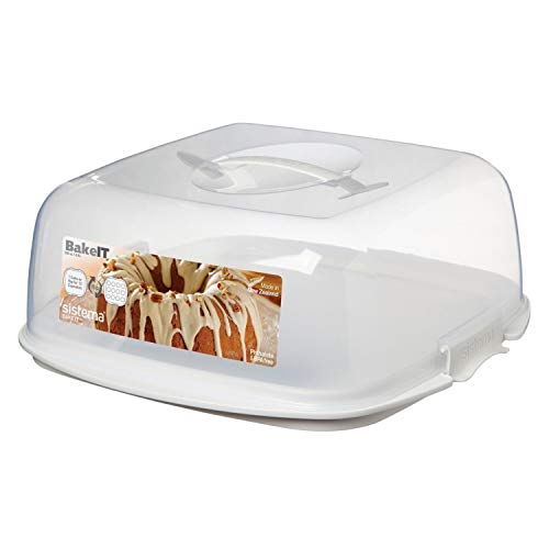 Sistema Bake IT Collection Cake and Cupcake Carrier, Clear/White