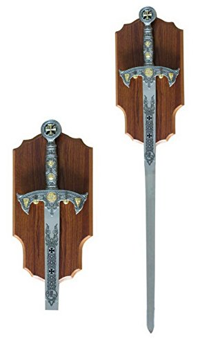 Medieval Knights Templar Long Sword and Wall Plaque -