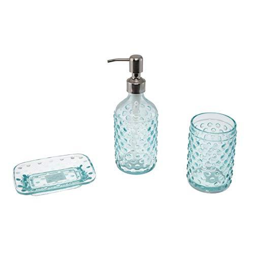 Embossed Blue Dots - Creative Home 85319 Embossed Dot Blue Glass 3 pc Bath Set, Includes Lotion Dispenser, Tumbler, Soap Dish
