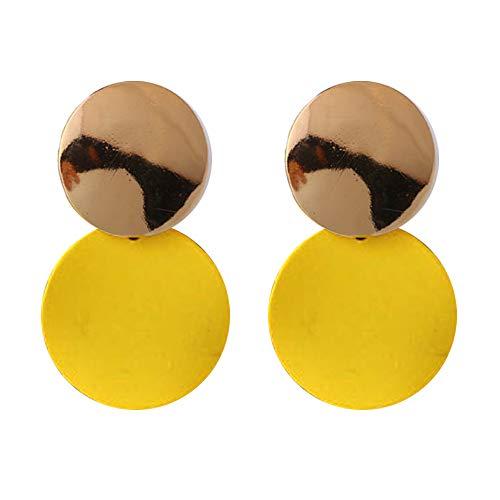 - Geometric Dangle Earrings Drop Hoop Tassel Chandelier Ear Cuff Stud Earrings Women Girls Fashion Piercing Minimalist Wedding Bridal Tribal Long Dangling Charms Jewelry Yellow Tone