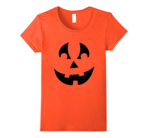 Quick And Easy Halloween Costumes (Womens PUMPKIN JACK O' LANTERN T-shirt Fun Easy Halloween Costume T Large Orange)