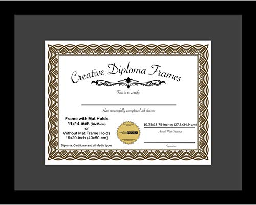 CreativePF [1620bk-b] Satin Black Large Diploma Frame with Black Mat Holds 11x14-inch Documents with Glass and Installed Wall Hanger