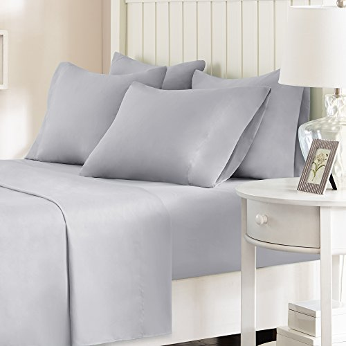 Comfort Spaces - Hypoallergenic Microfiber Sheet Set - 6 Piece - Full Size - Wrinkle, Fade, Stain Resistant - Light Gray - Includes flat sheet, fitted sheet and 4 pillow cases - 2 6 Bedding