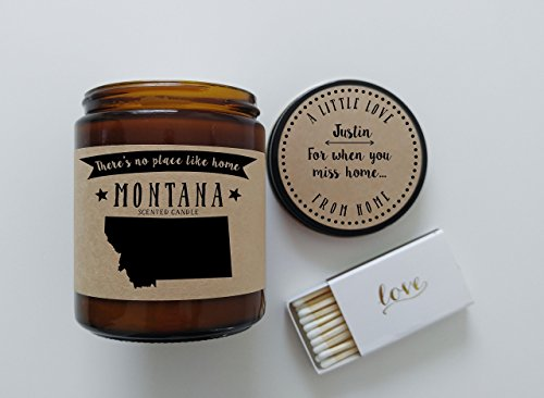 Montana Scented Candle Missing Home Homesick Gift Moving Gift New Home Gift No Place Like Home State Candle Thinking of You Valentines Day Gift ()