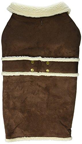 Fashion Pet Outdoor Dog Shearling Coat, X-Large, Brown