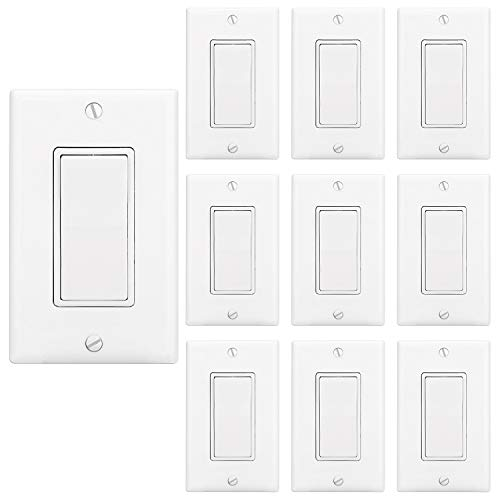 ([10 Pack] BESTTEN Single-Pole Decorative On/Off Rocker Wall Light Switch, Wall Plate Included, Residential & Commercial Grade, Grounding, UL Listed, White )