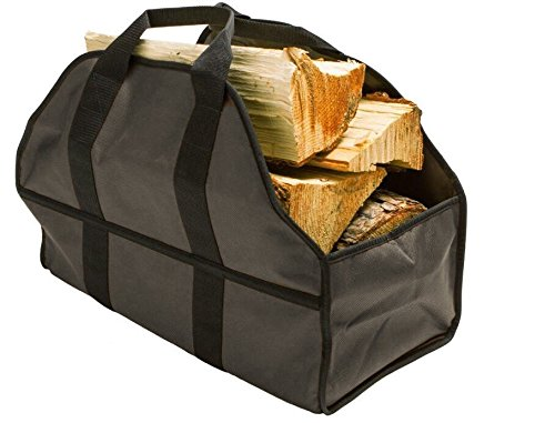 Egooz Large Firewood Log Carrier, Durable Canvas Tote Bag for Carrying Wood - Simple, Easy use, Close End - keeps mess inside the carrier, 24